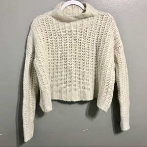 Aerie Wool Blend High Neck Cropped Sweater Small